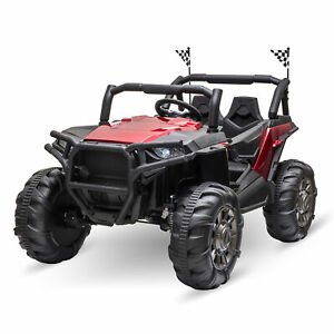 Aosom 12V 2-Seater Kids Electric Ride On Car Off-Road UTV Truck, Camouflage Red