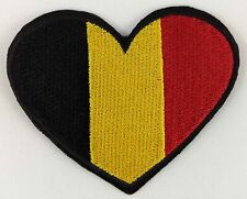 Belgium Heart Flag Patch Badge Embroidered Iron On Applique