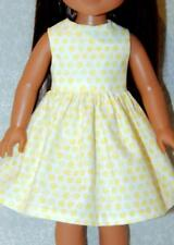 "Dress for 14.5"" Wellie Wishers Doll Clothes by TKCT handmade yellow dots"