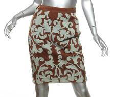 VALENTINO BOUTIQUE VINTAGE Womens Floral Brown Suede Straight Skirt S