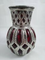 Vintage Silver Metal Cased Red Blown Glass Vase Made in India 6""