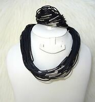 Multi Strands Black Retro Fashion Retro Necklace Bracelet Jewellery Set