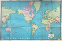 "Hammond's International Map Of The World 1957, 49"" X 33"" Mercator's Projection"