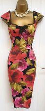 Karen Millen Pink Red Black Floral Wiggle Pencil Occasion Dress UK 8 **read desc