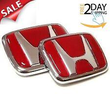 Red Honda Emblem Front Rear Set JDM Style Integra Civic Type R Acura Badge Logo