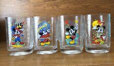 Disney McDonalds 2000 Millennium Mickey Mouse Pressed Glass Complete Set 4 MINT