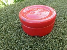 Ceramic Button Pot with Lid in Red with Rubbed Glaze