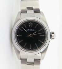 .1998 Rolex Oyster Perpetual Steel Ladies Watch 67180 With Black Dial + Box