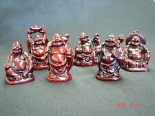 Set of Six Little Small Chinese Happy Money Buddha Statues
