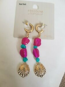 Freedom At Topshop Pink And Turquoise Pearl Gem Stud Drop Earrings