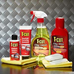 T-Cut Classic Clay Bar Kit & Headlight Restoration Kit Car Paintwork Wax Polish