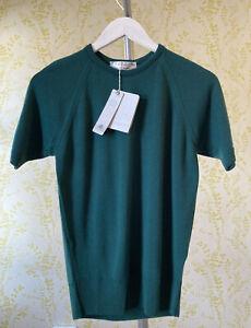 BNWT HODGSON OF SCOTLAND tartan green merino wool short sleeve jumper size 36