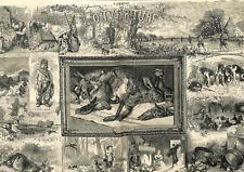 Ouverture de la chasse aux faisans lapins lièvres nature morte GRAVURE 1873