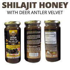Organic SHILAJIT Honey With DEER Antler Velvet, Black Seed Extracts 16 oz.