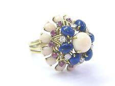 18Kt Opal Sapphire Lapis Diamond Yellow Gold BIG Mushroom YG Ring 5.30Ct
