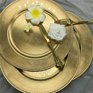 Nordic Gold Charger Plastic Plate Tray Decorative Wedding Dinner Kitchen Plates