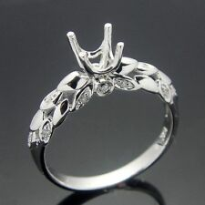 5mm Round Cut Solid 10k white gold  diamond semi mount engagement ring setting