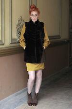 Damen Weste Fellweste fur vest braun 80s brown 70er True VINTAGE 70´s women 80er