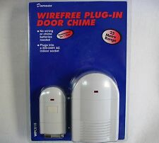 PLUG-IN Door Bell Chime & Push Wirefree Wireless With 25 Metres Range Friedland