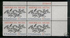 Scotts #1252 5c American Music Plate Block, Mnh