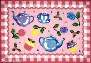 "3x5  Area Rug Tea Party Fun Time Cupcake Teapot Pink 3'3""x4'10"" New"