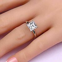 2 Karat Prinzess Diamant Solitär Verlobungsring Weißgold Finish Damen Ring