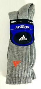New Deadstock NOS Vintage 3 Pair ADIDAS Grey Orange Athletic Crew Socks 6-12