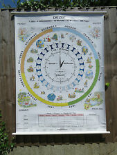 PULL DOWN SCHOOL WALL CHART OF TIME AND SEASONS IN GERMAN DOUBLE SIDED CLOCK