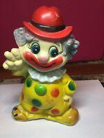"Vintage Plastic Piggy Bank Coin Bank Clown 7"" Height"