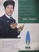 PUBLICITÉ 1958 GAZ DE FRANCE GDF TARIF BINÔME - ADVERTISING