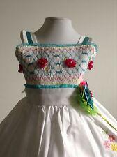 Baby Girl Dress White Blue 12-18 months Handmade Rococo Embroidered Birthday
