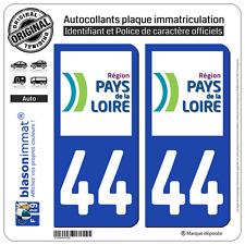 2 Stickers autocollant plaque immatriculation : 44 Pays de la Loire LogoType