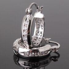 Fashion Women 925 Silver Stud Hoop Dangle Earring Wedding Engagement Jewelry