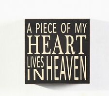 Black A Piece Of My Heart Lives in Heaven Wood Box Sign 5.75""