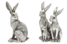 More details for reflections silver colour hare, hare family statue ornament sculpture boxed