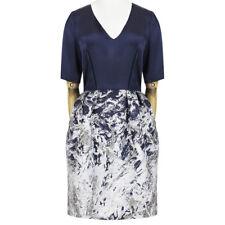 Prabal Gurung Midnight Blue Satin Silver Jacquard Bubble Skirt Dress US8 UK12