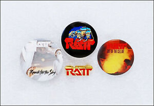 RATT Lot Of 3 80's Buttons & Logo Pin Badge Out Of The Cellar Reach For The Sky