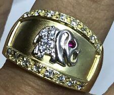 Good Luck Ring Elephant 14k GOLD yellow white manmad diamond Ruby 8 6 7 9 10 6g