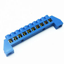1Pcs 10 Hole Blue Screw Brass terminal block Earth And Neutral block