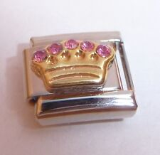 CROWN PINK GEMS Italian Charm - I Love my Princess Tiara 9mm Classic size tile