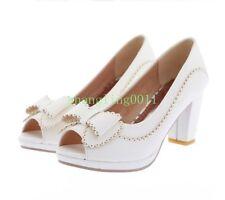 Womens Peep Toe Chunky heels Mary Jane Black Pumps High Heels Dress Party Shoes