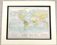 1899 Antique Map of The World Ocean Currents Oceanography 19th Century Original