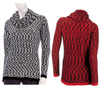 CALVIN KLEIN Cowl Funnel Neck Textured 2-Tone Pullover Sweater Pick Size/Color