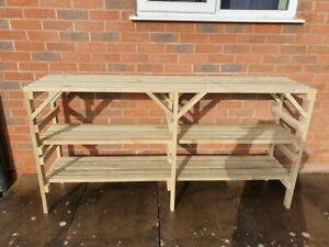 Wooden Greenhouse Staging shelving potting bench - Very Solid - 3 TIER