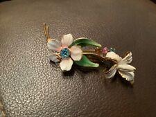 Vintage Enamel, Gold Toned, blue Rhinestone Flower Made in Austria Brooch, Pin