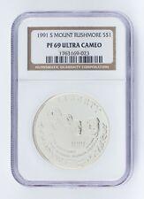 1991-S S$1 Mount Rushmore Silver Commemorative NGC PF69 Ultra Cameo