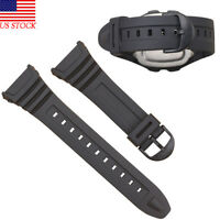 Watch Band Strap to fit For Casio Model W-96H W96,Flexible Black Resin 577EA1 US