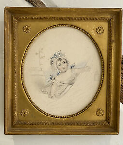 ANTIQUE PENCIL & WATERCOLOUR PORTRAIT PAINTING OF A YOUNG GIRL FRAMED