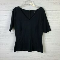 Ann Taylor Women's Knit Top Size Small V Neck Short Sleeves Stretch Black Career