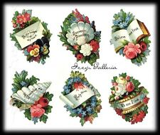 RARE Vintage Gifted Line Victorian Keeper Of Heart Flowers Bouquet Stickers